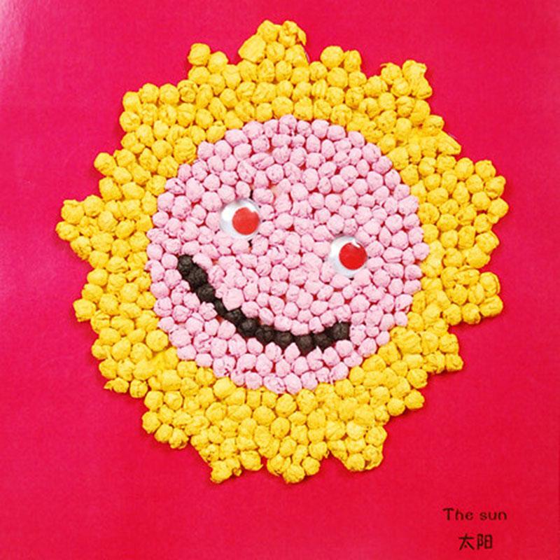 手揉纸搓纸画儿童手工制作材料包diy创意粘贴画智力玩具_太阳