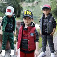 童装 冬装女童秋装2014新款男童儿童运动卫衣三件套装小孩棉服衣