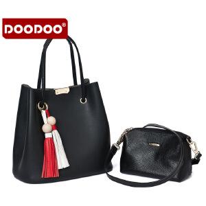 DOODOO 包包2017新款春夏女包水桶包女 子母包时尚流苏手提包韩版单肩包 D6117 【支持礼品卡】