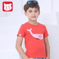 小猪班纳2017童装夏季新款男童T恤儿童短袖中大童圆领T男孩上衣