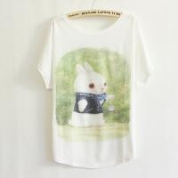 2017夏季新款女装日韩版休闲爱丽丝小白兔蝙蝠衫T恤B5639