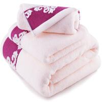 [当当自营]三利 纯棉缎档图腾纹样 方巾毛巾浴巾三件套 礼盒装 桃粉色