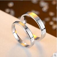 戒指 首饰 配饰 爱你永远简约情侣戒指925银一对刻字戒指男女款对戒银饰指环