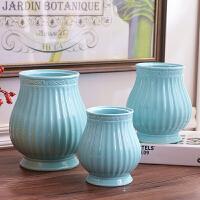包邮欧式玄关白色蓝色陶瓷花瓶摆件三件套工艺品家居软装饰品客厅可插花器仿真花假花瓶子