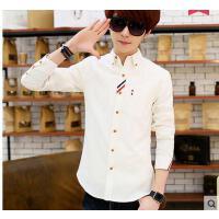韩版修身款男长袖彩条寸衫衣服男士白衬衫休闲时尚青少年衬衣