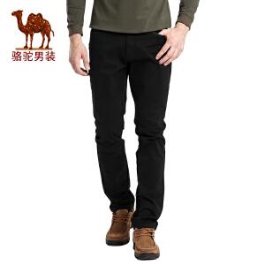 骆驼男装 秋季新款男士时尚直筒中腰商务休闲裤纯色长裤子男