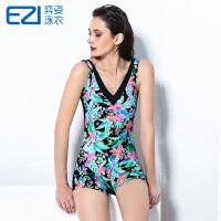 弈姿EZI新款温泉大码聚拢修身遮肚显瘦保守平角连体女游泳衣1386