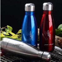 500ML可乐瓶304不锈钢保温杯 双层子弹头水杯真空直身杯保冷杯 PRB04 蓝色