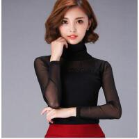 T恤女装高领小衫大码女士上衣新款网纱打底衫烫钻女长袖