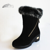 2016新款 欣清老北京布鞋中筒保暖棉雪地靴子 中筒雪地棉靴女