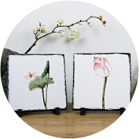 无则艺【NothingButArt】原创国画创意石板绘画作品艺术衍生品生活家居摆件装饰环保艺术家石版画20*20cm