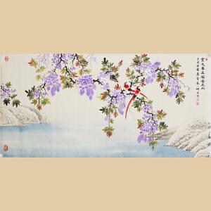 《紫气东来富贵成双》张一娜-中国女工笔画协会委员,书画家协会一级美术师