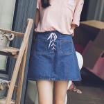2017夏新款韩版系带牛仔裙半身裙 高腰大码显瘦a字裙学生包臀裙短裙女17HDYY7955