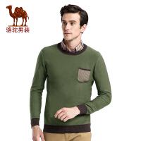骆驼男装 秋季时尚修身撞色套头圆领棉质居家长袖毛衣男