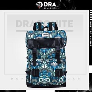 DRACONITE韩版翻盖锁扣书包蚊虫魔鬼抽象印花大双肩背包男女11708