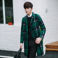 秋冬新款男士毛呢外套潮男韩版修身大码格子上衣青年时尚休闲大衣