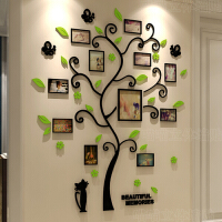 3D水晶立体墙贴 亚克力 客厅 沙发 卧室 温馨照片树 贴纸创意家居装饰