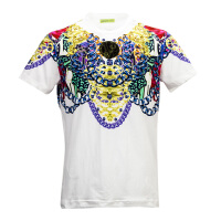 VERSACE JEANS白色棉氨材质链条印花男士短袖T恤