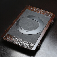 林仕屋 茶具 四合一茶海托黑金石茶台整块乌金石结合黑檀实木茶盘CP2715