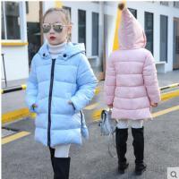 简约侧开叉连帽长袖新款中长款保暖棉袄上衣日韩潮流女童棉衣加厚外套