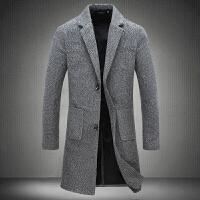秋季男士风衣中长款毛呢大衣修身款大码青年呢子外套潮男装