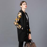 �莱欧洲站女装2017春装新款休闲上衣潮流中长款长袖外套