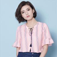 OSA欧莎夏季新款浅粉蓝色五分袖衬衫B12295