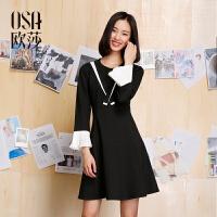 【女装盛典 2件5折】OSA欧莎2017春女春装新款女装黑色喇叭袖拼接连衣裙A13046