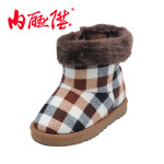 内联升 童鞋 儿童格纹雪地靴 高帮 老北京布鞋 5504C/5505C