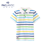 派克兰帝品牌童装 夏装男童彩条POLO领短袖T恤 儿童T恤