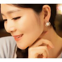 耳钉 女 韩版 几何钻三角珍珠 耳钉 个性 无耳洞 耳环 假 韩版 OL气质 时尚小饰品