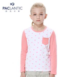 派克兰帝品牌童装 女童中小童秋装秋装可爱波点长袖T恤 儿童T恤