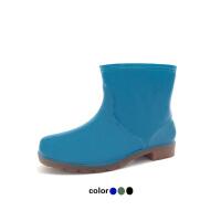 男士雨靴女士雨鞋纯色短筒雨鞋男女情侣防水胶鞋劳保厨房水鞋