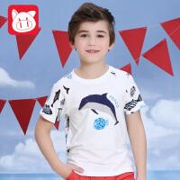 小猪班纳2017童装夏季新款男童T恤儿童纯棉短袖中大童圆领T男孩学生上衣