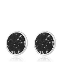 Arts & Crafts/A&C signature系列时尚圆形黑色仿宝石耳钉 支持礼品卡支付