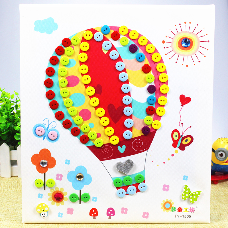 儿童手工制作 幼儿园扣子粘贴画玩具_木质相框 热气球