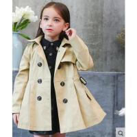 韩国时尚气质女童中长韩版风衣上衣潮流百搭时尚女童修身中大童外套