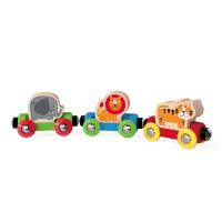 德国HapeE3807丛林动物火车儿童早教火车轨道玩具