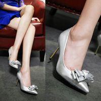 【支持礼品卡支付】女鞋浅口鞋韩版公主鞋尖头鞋蝴蝶结细跟超高跟鞋单鞋
