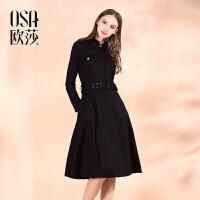 限时抢欧莎冬季女装时尚简约腰间系带翻领长袖连衣裙C13196